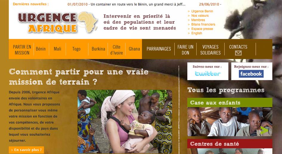 Développeur Drupal Freelance, réalisation : Urgence Afrique